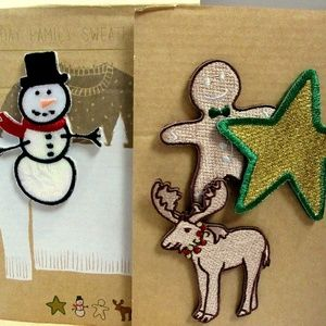 HOLIDAY Embroidered Sweater PINS Boxed Set of 4